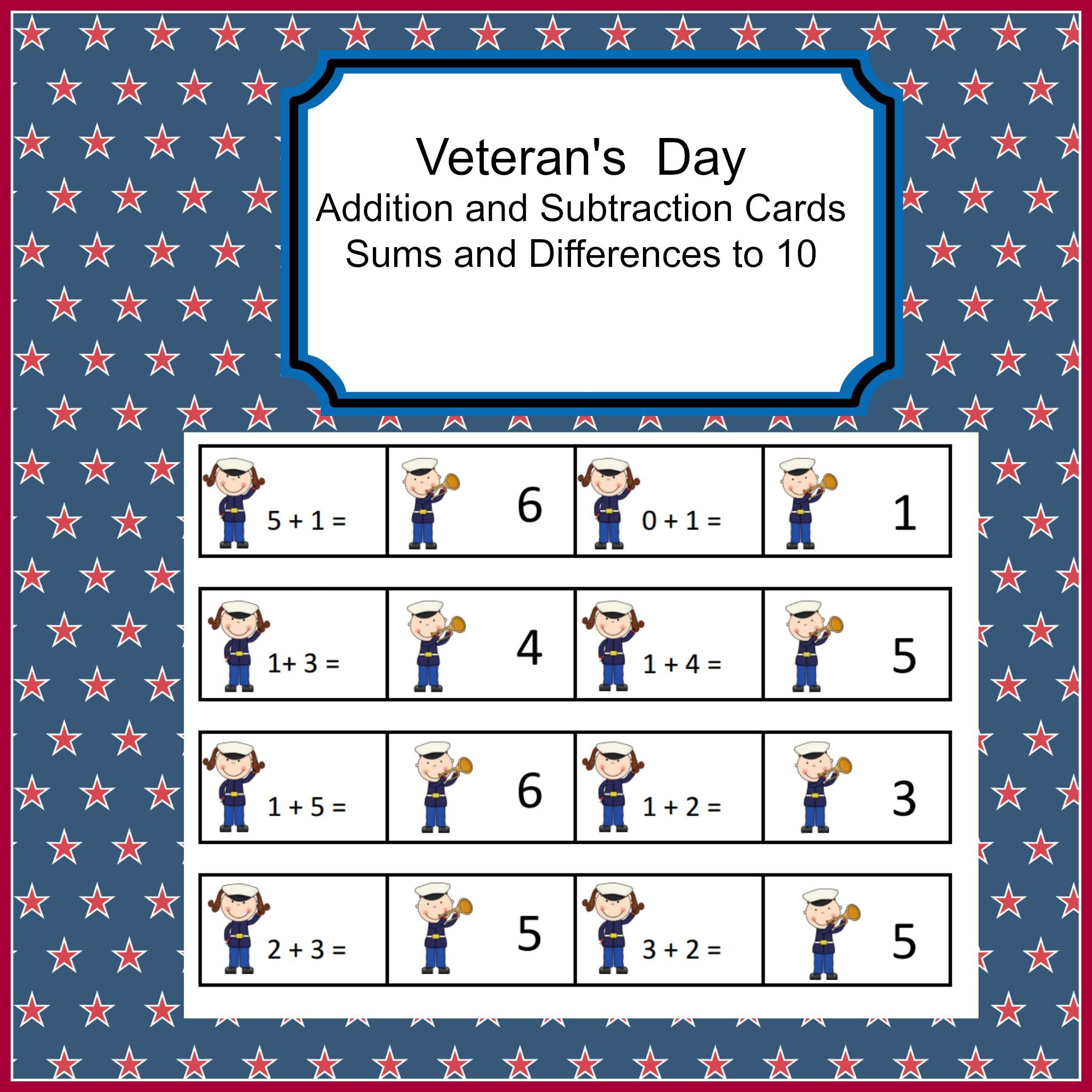 Addition And Subtraction Fact Fluency Veteran S Day
