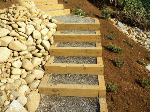 Best Image Result For Outdoor Wood Steps Sl*P* Hill Backyard 400 x 300