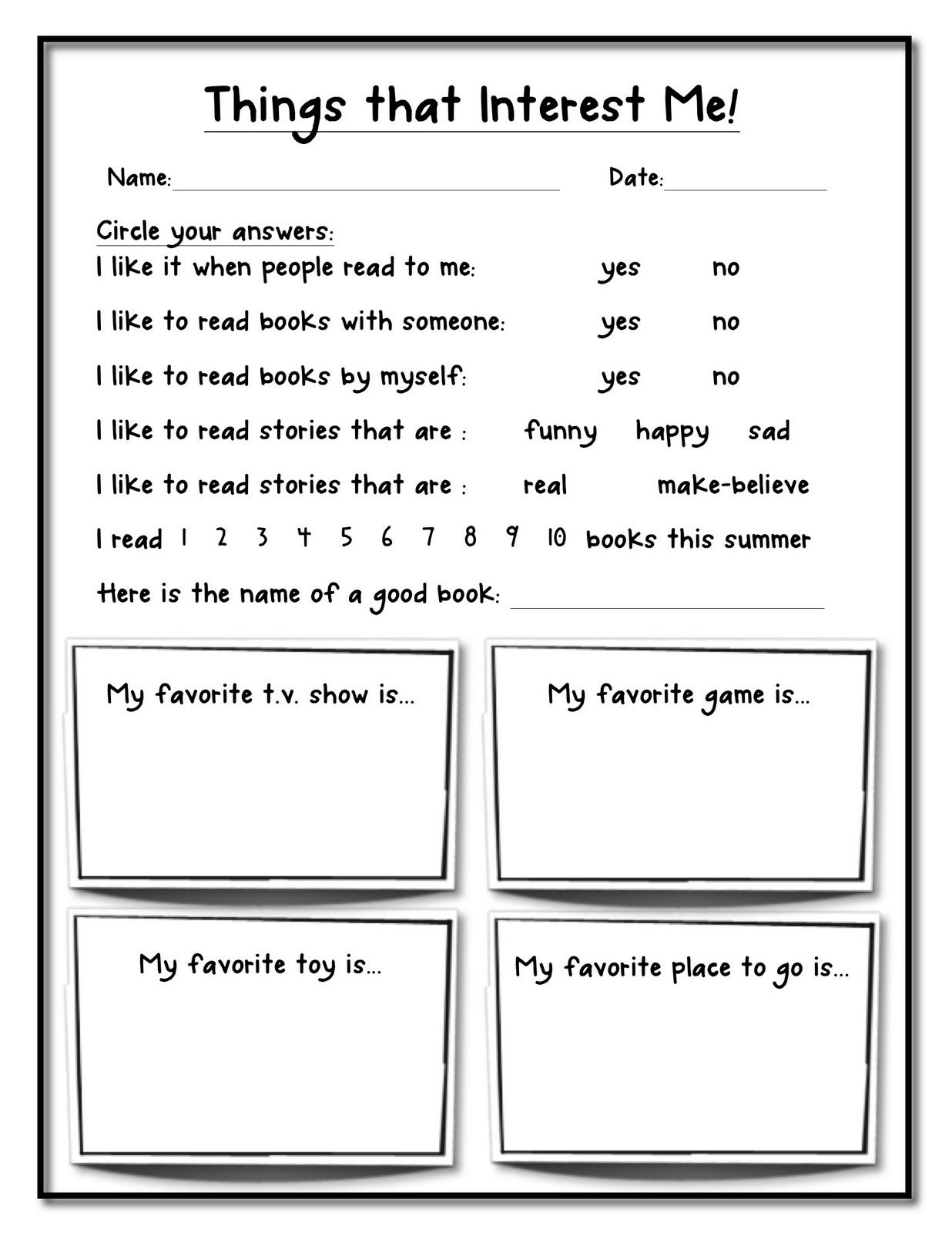The Teacher Organizer Things That Interest Me Kid Survey
