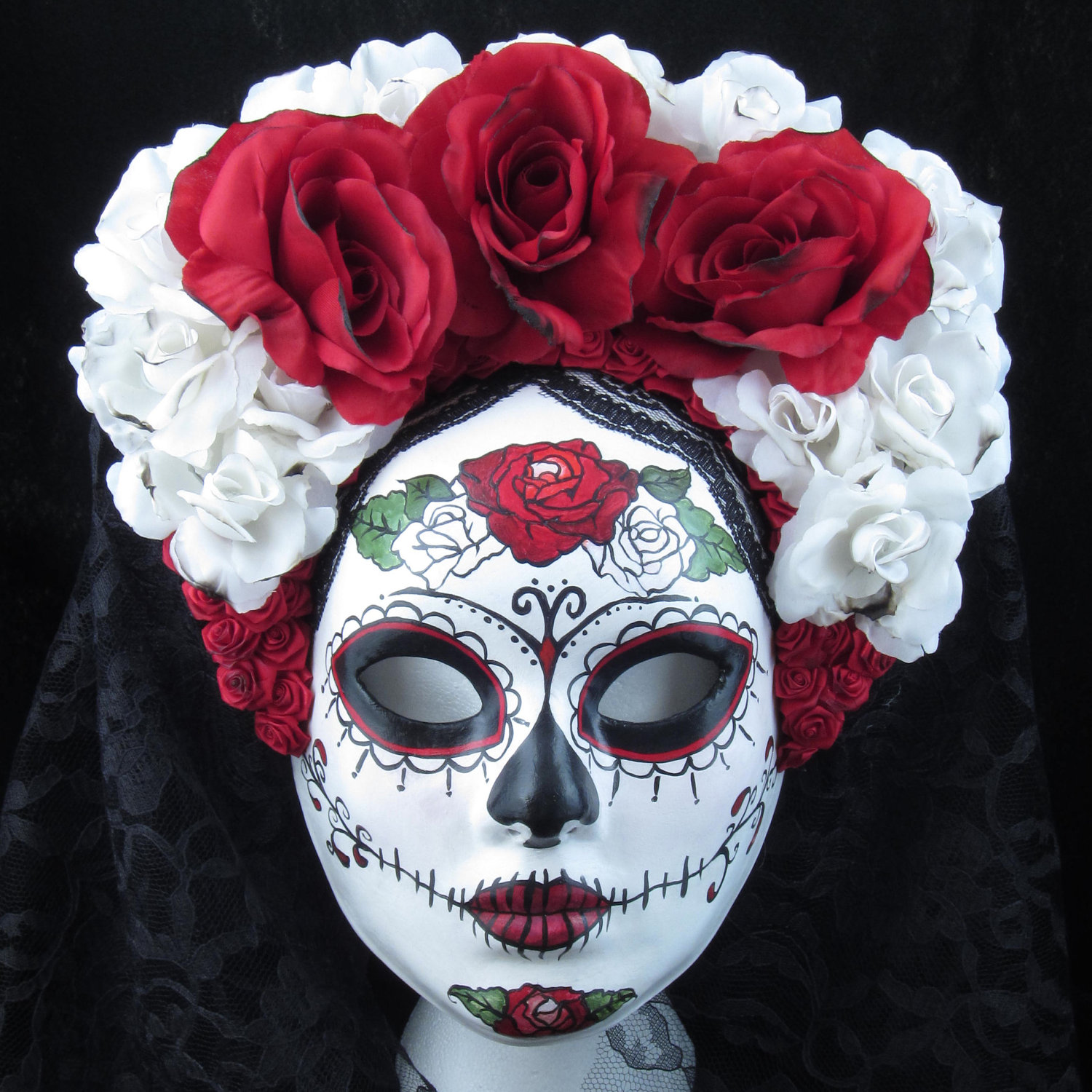 Right Red Mask for Day of the Dead/Dia de los Muertos/Costume ...