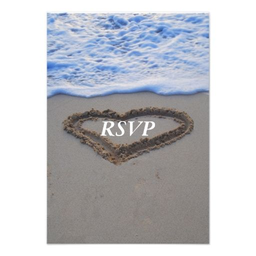 RSVP  Beach Wedding Heart in Sand Personalized Invitations