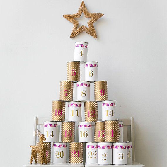 Weihnachten Advent Kalender - Aufkleber - Adventskalender ...