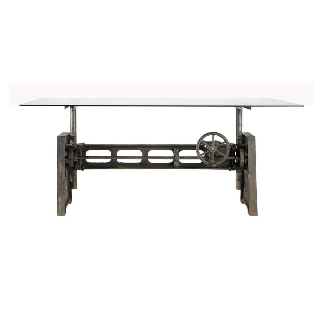 Table A Manger En Verre Et Metal 10 Personnes L200 Decorate