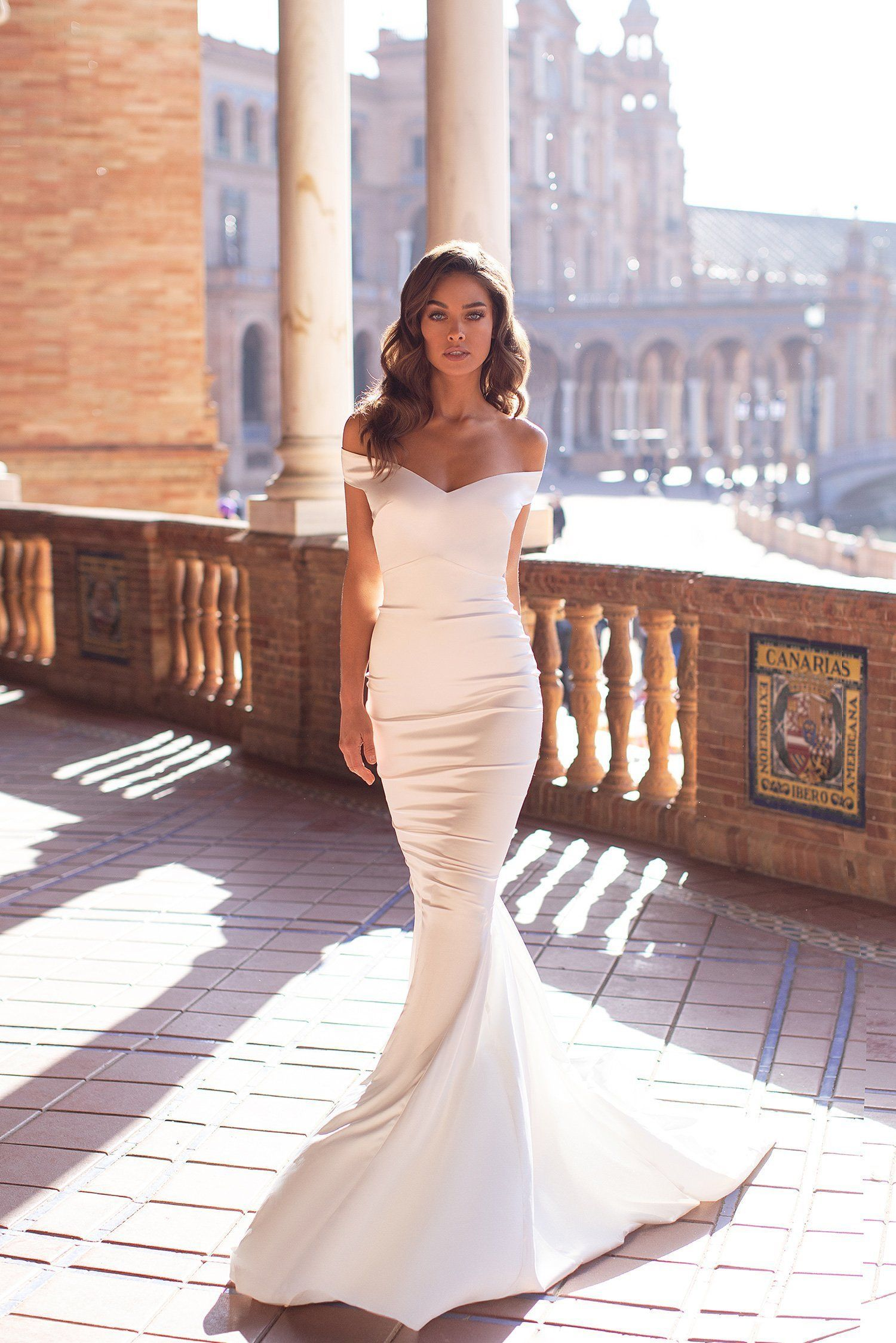 Wedding Dress Tight Dulce White Off Shoulder Satin Gown With Open Back Amp Mermaid Train Tight Wedding Dress Wedding Dresses Lace Silk Wedding Dress [ 2249 x 1500 Pixel ]
