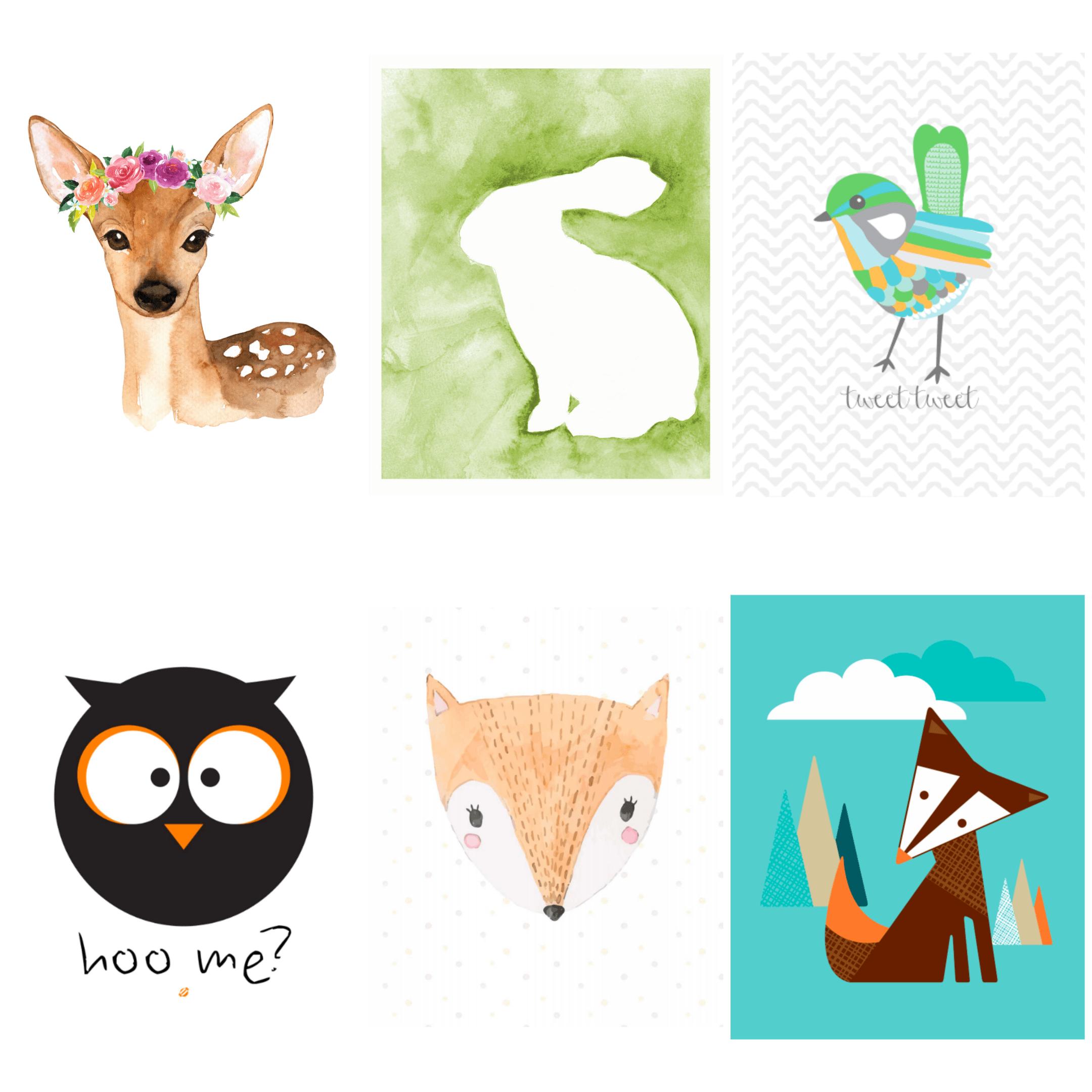 Free Woodland Printables Free Animal Art For Kids Nursery Wall