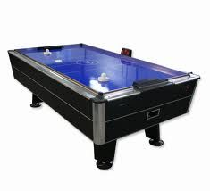This Air Hockey Table Is Based On Three Colors Black Blue And Silver Which Makes The Table Have A Bright Look Air Hockey Air Hockey Table Arcade Room