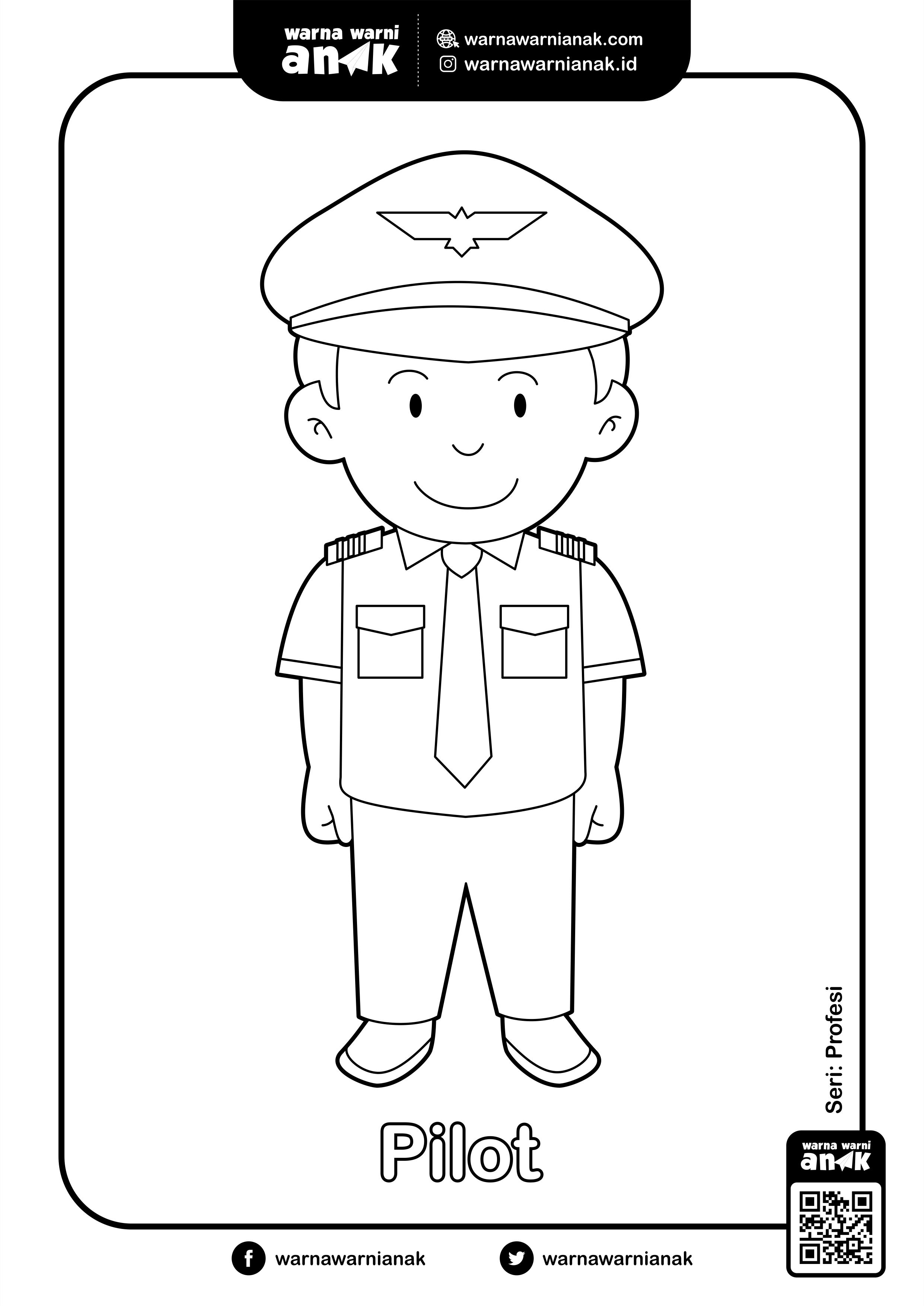 Mewarnai Gambar Pilot Siapa Ingin Jadi Pilot