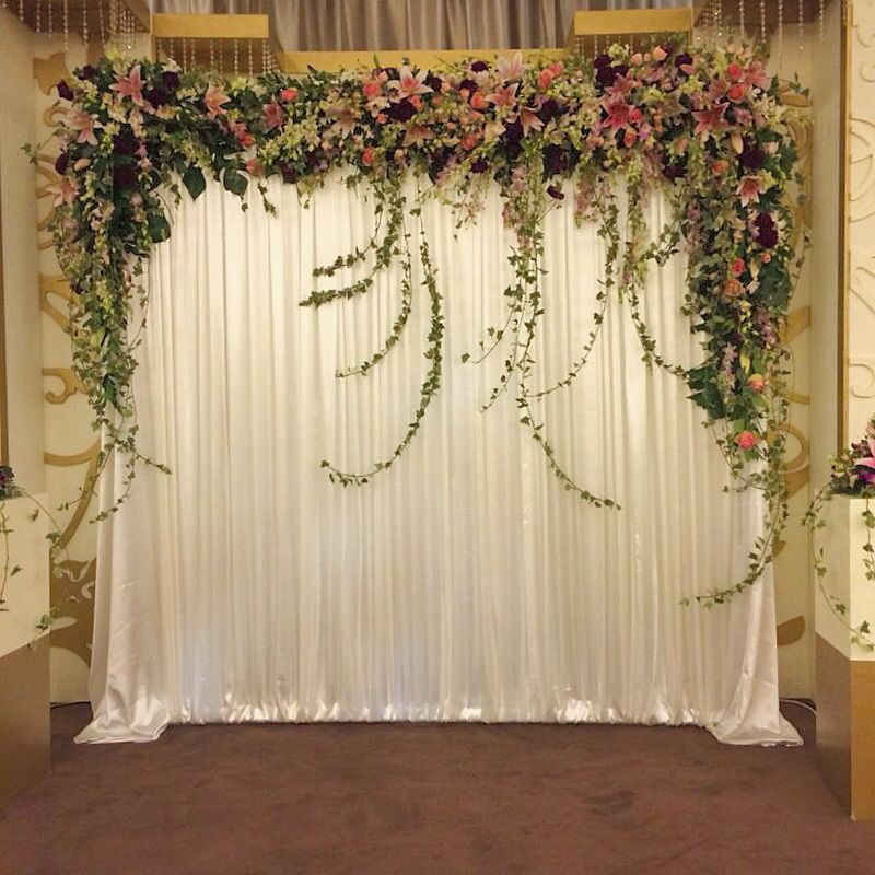 Full Stage Backdrop With Loose Flower Edging Wedding Stage