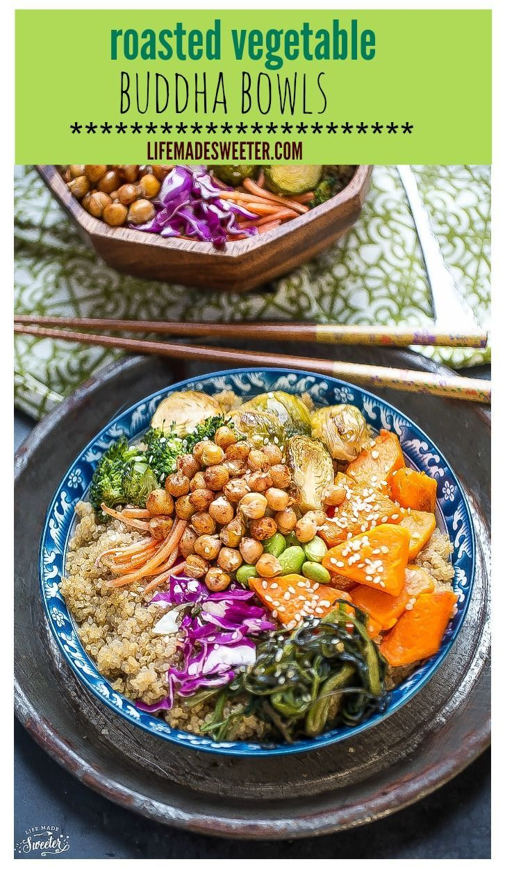Roasted Vegetable Buddha Bowls make a healthy and delicious meatless Monday meal! Perfect for using up all those leftover veggies & providing nourishment to keep you full. Vegan, Gluten Free & Dairy Free.