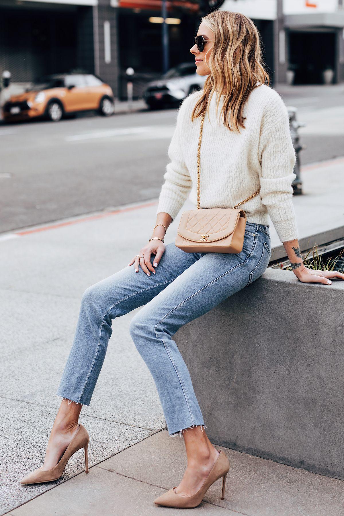 ef4877ece3b Fashion Jackson Wearing Ivory Sweater Frame Raw Hem Straight Leg Jeans  Jimmy Choo Romy Nude Pumps Chanel Tan Diana Bag 1