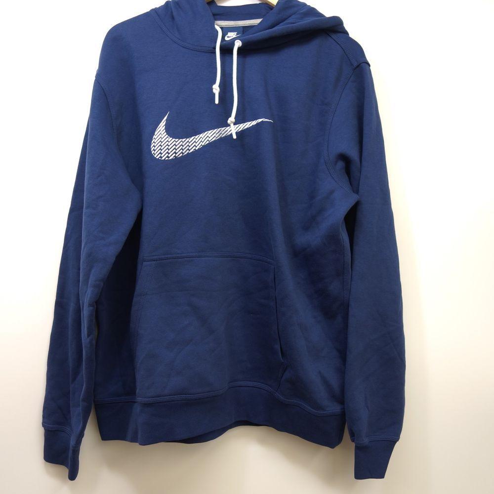 New Nike Mens Club Swoosh Raised Embroidered Navy Blue Logo Pullover Hoodie Xl Nike Hoodie Pullover Hoodie Nike Sportswear Nike [ 1000 x 1000 Pixel ]