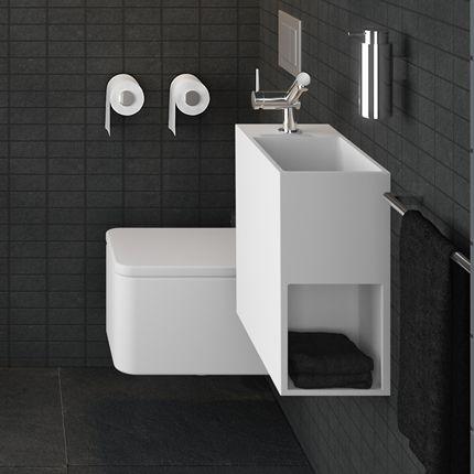 lavabo lave mains suspendu design peu profond avec espace de rangement lat ral vidage cach et. Black Bedroom Furniture Sets. Home Design Ideas
