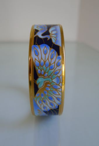 Gorgeous Michaela Frey Enamel Bangle Bracelet with RARE Tropical Peacock Pattern | eBay