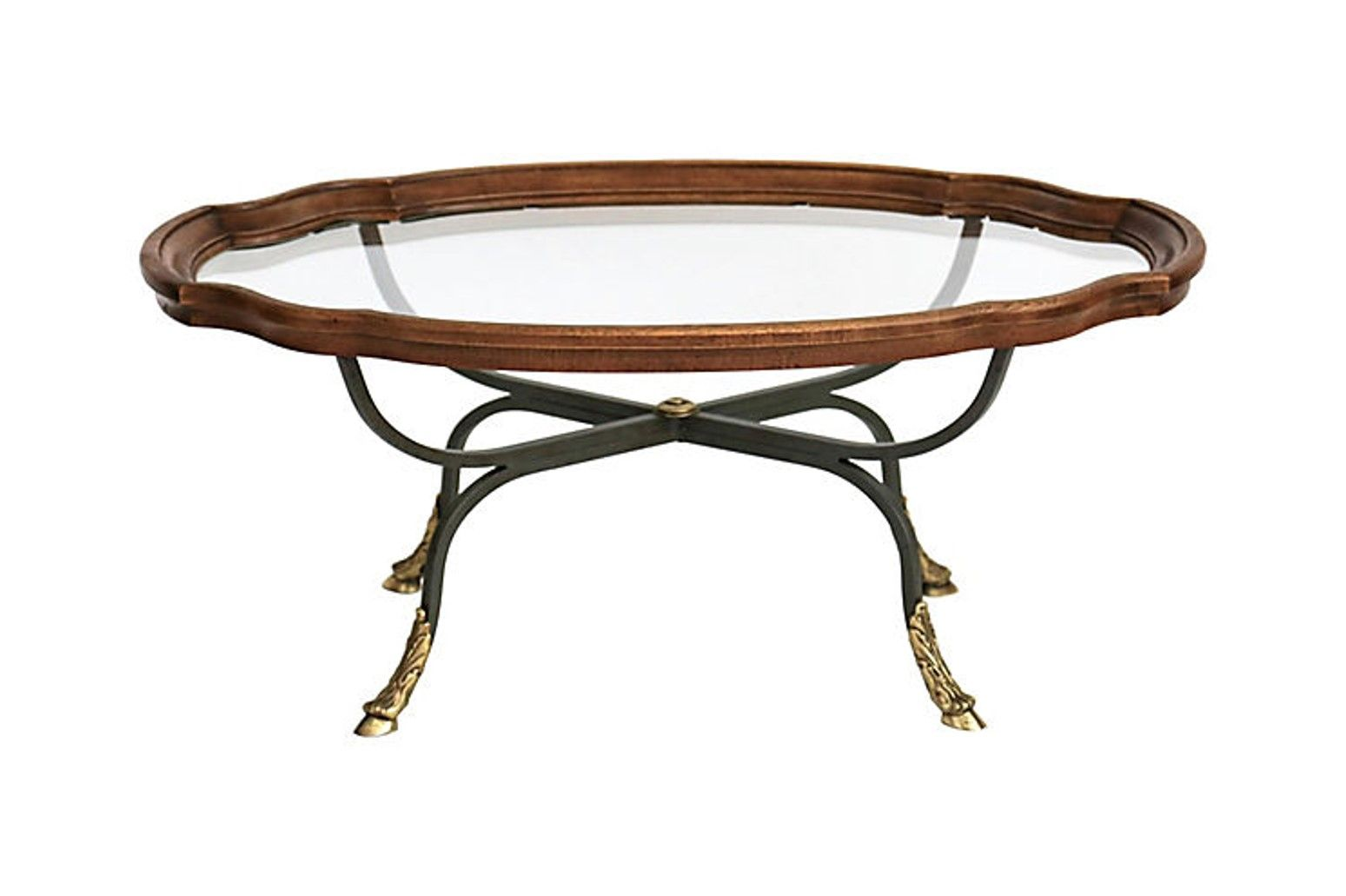 Oval Tray Style Coffee Table By Drexel Tray Styling Glass Top
