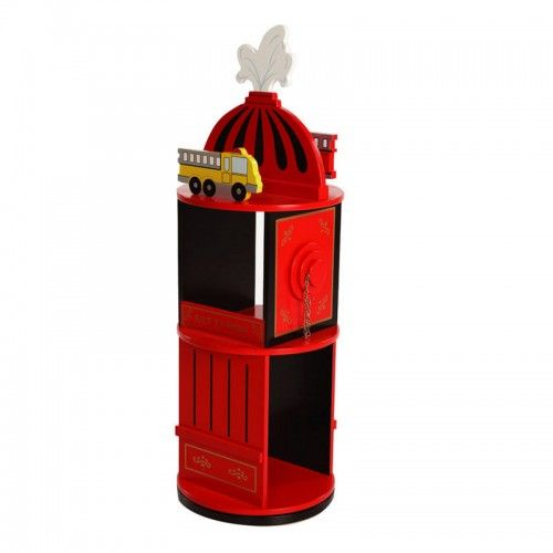 The Wooden Levels Of Discovery Firefighter Revolving Bookcase Is Fire Engine Red Black And Gold Designed Like A Hydrant With Two Shelves