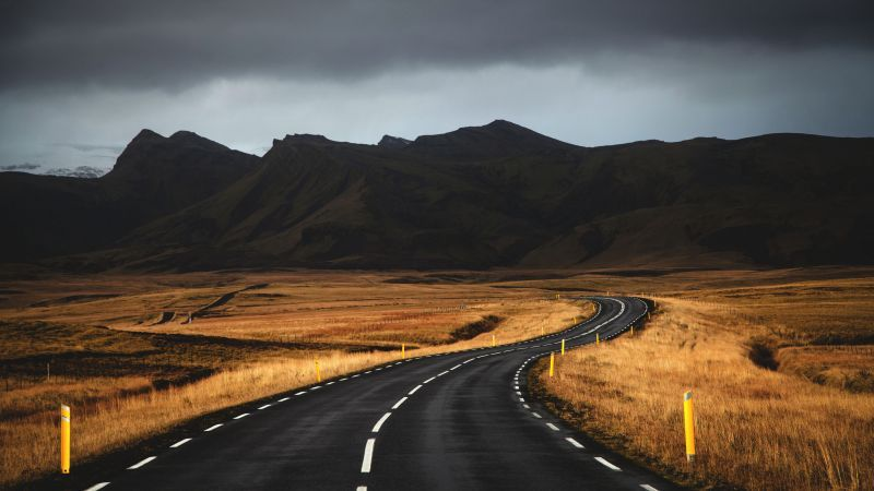 Iceland, 4k, 5k wallpaper, road, mountains, clouds ...