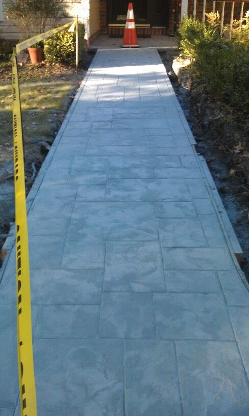 Stamped Concrete, Ashler Slate Pattern With Light Grey And