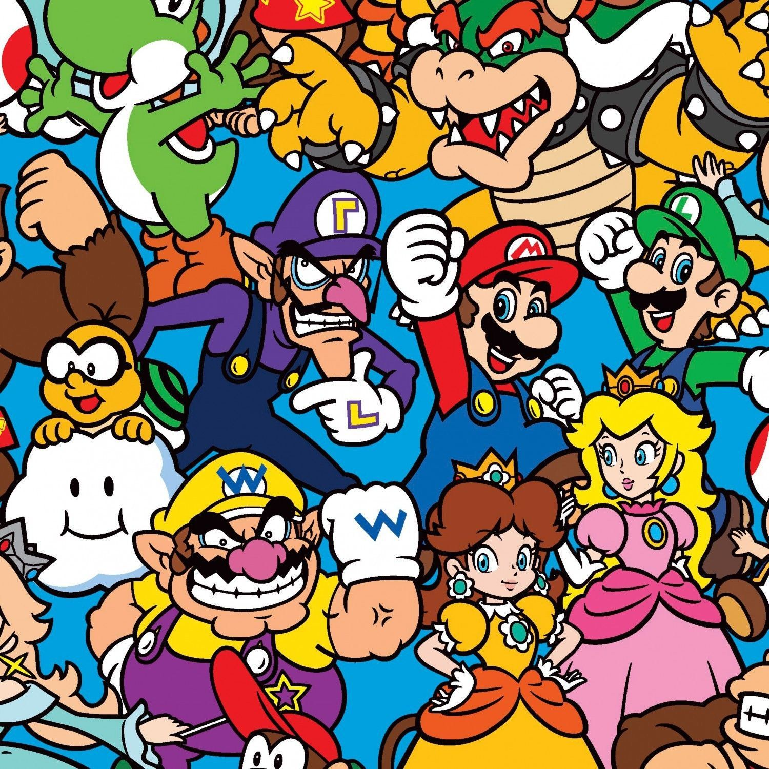 Nintendo Fabric Nintendo Super Mario Characters Packed Multi Colored 100 Cotton Fabric By The Yard 36 X43 A260 By Super Mario Brothers Mario Super Mario