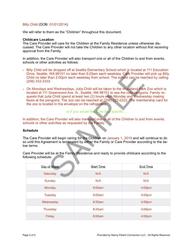 Household Employee Agreement Nanny Parent Connection With Nanny Contract Template Word Cumed Org Nanny Contract Template Contract Template Nanny Contract