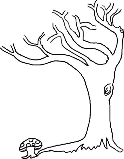 Cartoon Bare Tree Coloring Page Cartoon Downlload Coloring Pages