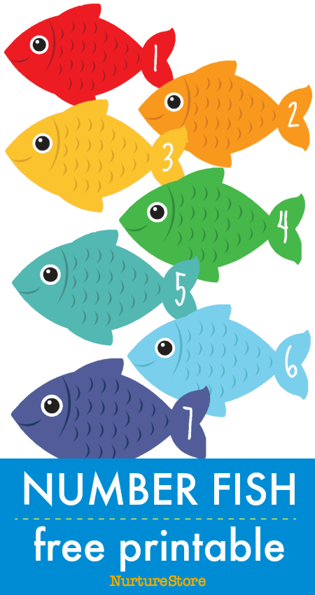 Number fish free printable math counting cards | Numbers ...