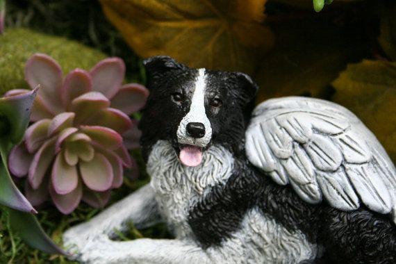 Border Collie Angel Statue Concrete Dog Memorial Border Collie Art Dog Memorial Border Collie Art Border Collie