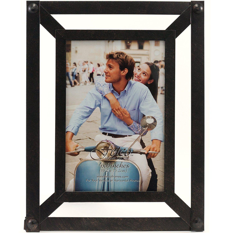 Fetco Home Décor Vicari Grid Work Decorative Frame, 4\' x 6\', Bronze ...