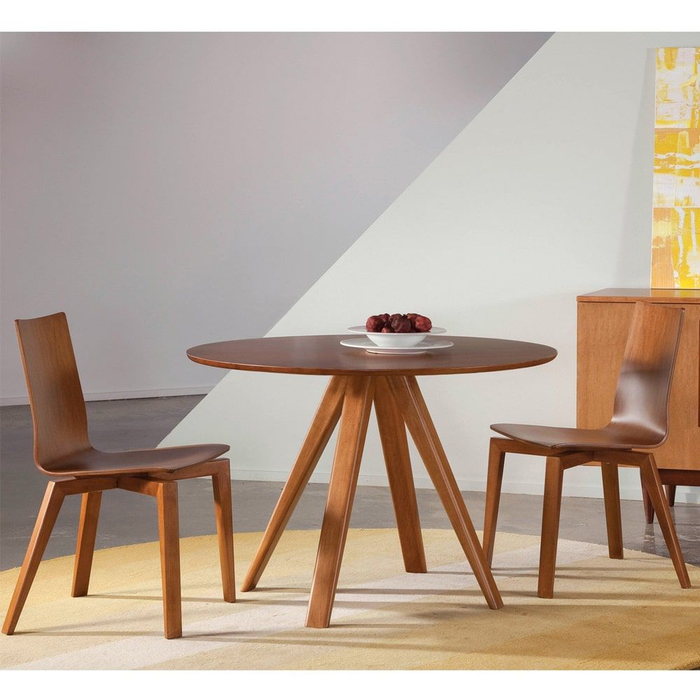 Saloom Furniture Avon 42 Round Maple Smooth Top Custom Dining Table In Flax Finish
