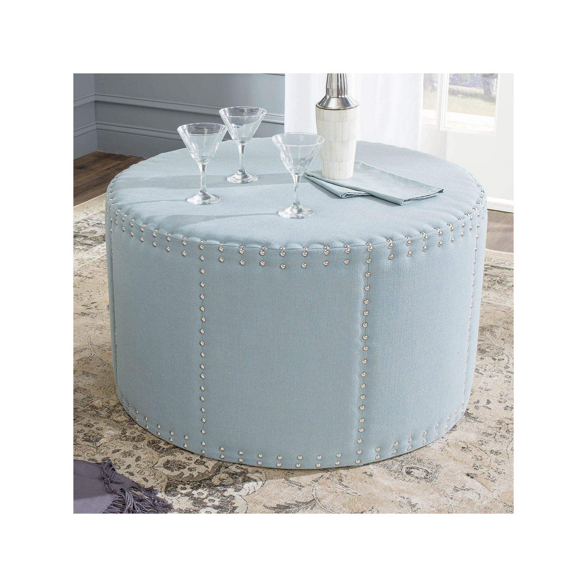 Cool Safavieh Sherri Nailhead Ottoman Products Ottoman Gmtry Best Dining Table And Chair Ideas Images Gmtryco