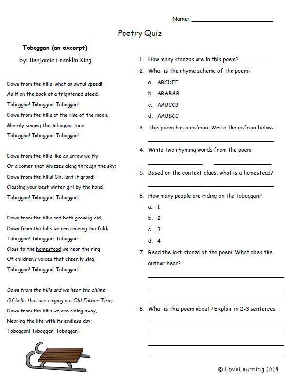Free Poetry Quiz For Grades 4 6 Poetry Quiz Poetry Comprehension Worksheets Language Quiz 8th grade poetry worksheet