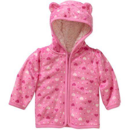 1152888e2 Healthtex Newborn Baby Girl Eared Cozy Fleece Minky Hoodie