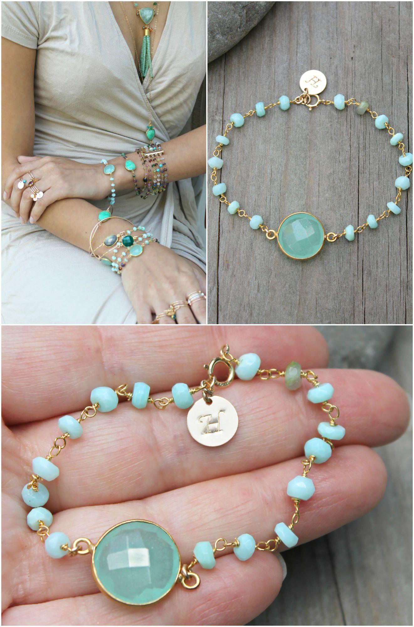 Aqua Chalcedony & Blue Opal gemstone bracelet,Personalized custom stamped initial disc, beaded bracelet, rosary bead chain, pale mint green