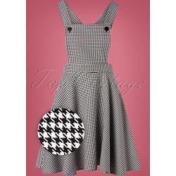 60s Harvey Houndstooth Pinafore Dress in Black and White BunnyBunny #blacksleevelessdress