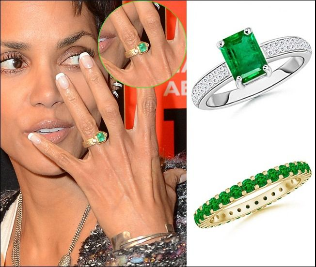 Halleberry Inspired Engagement Ring And Wedding Band Whitegold And Yellowgold Emerald Engagement Ring Engagement Rings Engagement Ring Online