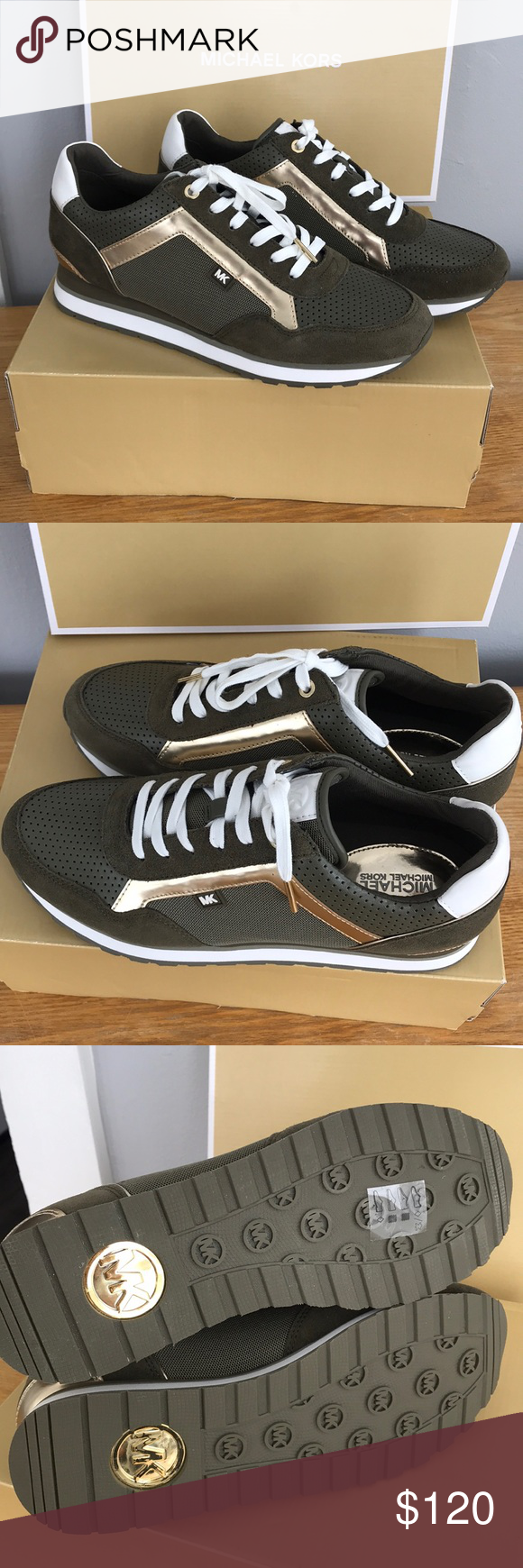 0abc36865ffc Michael Kors Maddy trainer shoes sneakers 9 olive Gorgeous pair of sneakers  👟 by Michael Kors