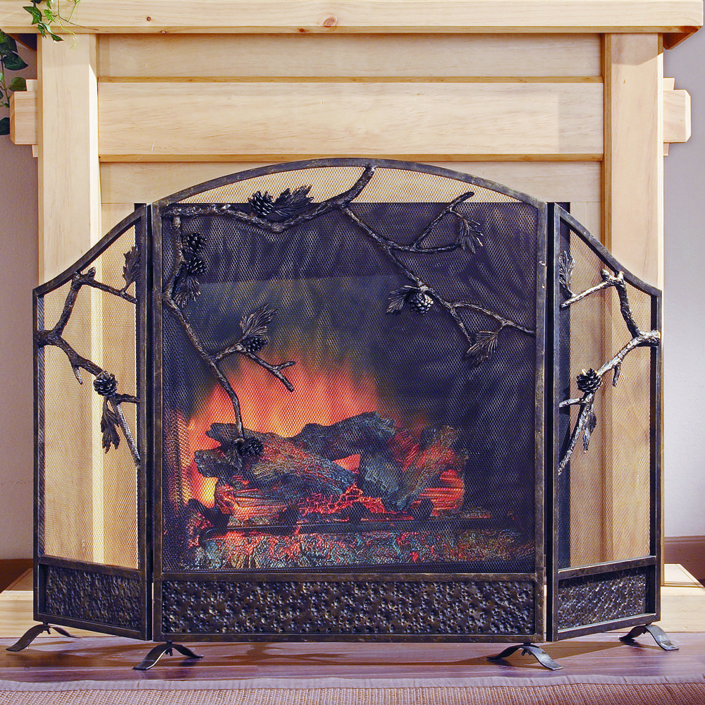 Pinecone fireplace screen wonderful cast iron fireplace screen featuring branches with pine cones and sculptured in fashion sure to enhance your rooms