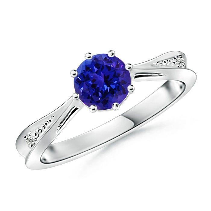 Angara Bezel Framed Round Tanzanite and Diamond Promise Ring in White Gold YT69vjd3L