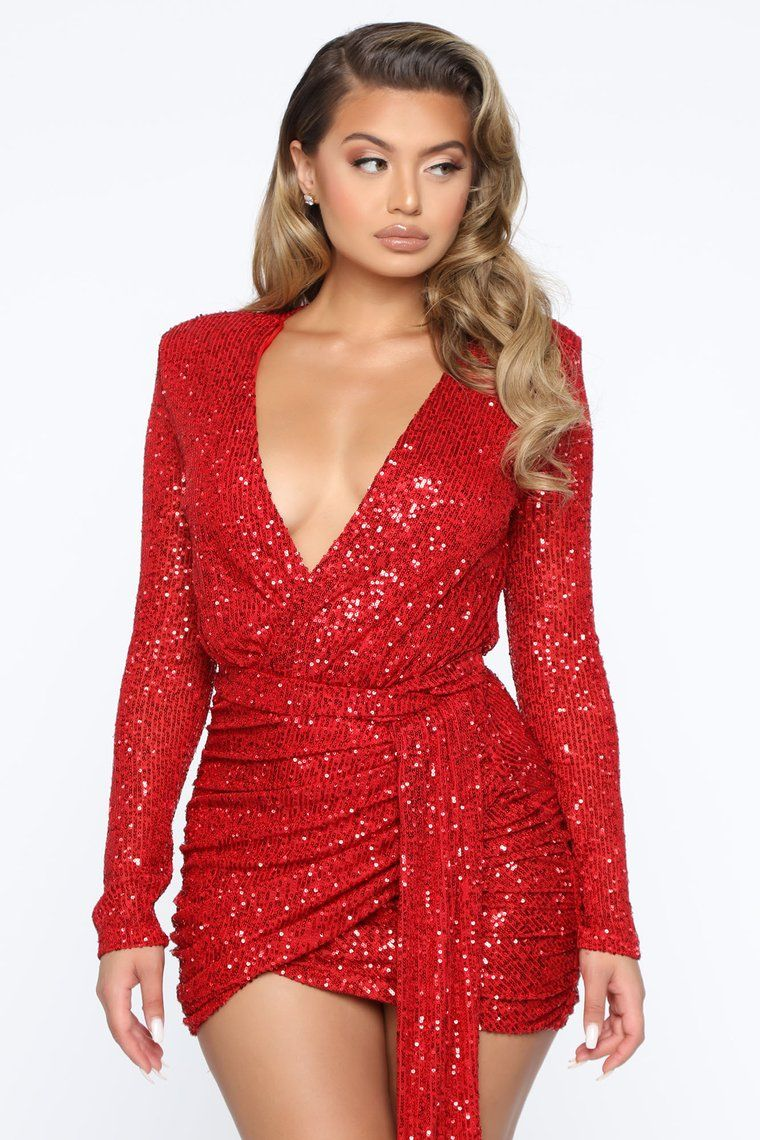 Center Stage Sequin Mini Dress Red Red mini dress