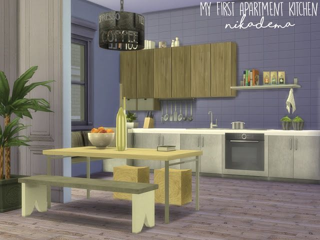 Sims 4 CC\'s - The Best: Nikadema My First Apartment Kitchen | Sims 4 ...