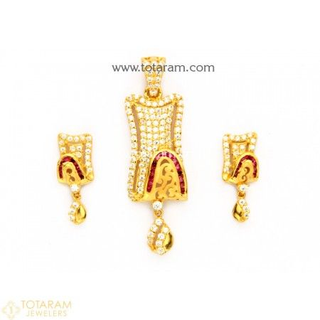 22k gold pendant earring set with cz red stones 235 gps731 22k gold pendant earring set with cz red stones 235 gps731 aloadofball Images
