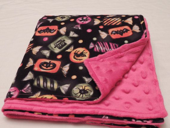 Halloween Candy Minky Baby Blanket with Hot Pink by SnuggleBugZZZ