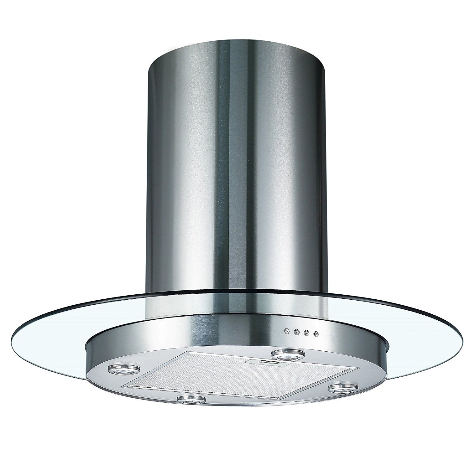 Cookology TUB900GL 90cm Round Glass & Stainless Steel Tubular Island ...