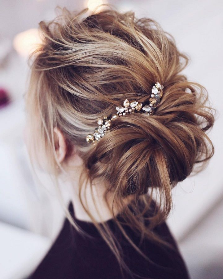 Beautiful Messy Bridal Hair Updos Messy Wedding Hair Hair Styles Wedding Hair Down
