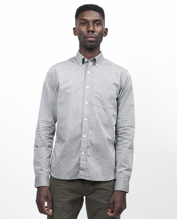 APOLIS Paper Button Down - Charcoal