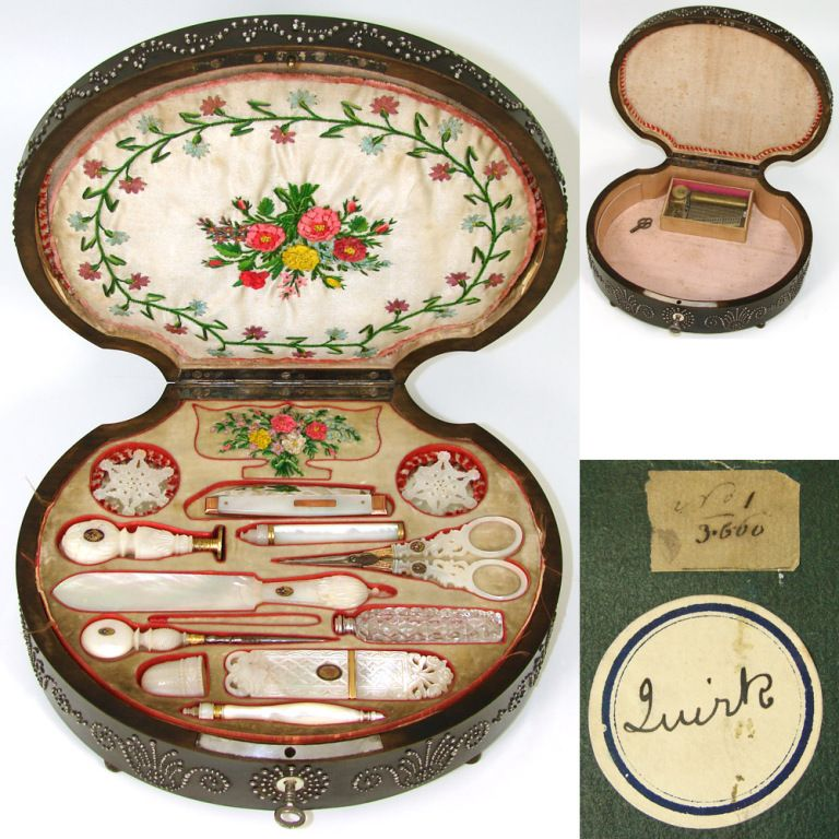 Wow! VR Antique French Palais Royal Sewing Box and Twelve Mother of Pearl Enamel Tools