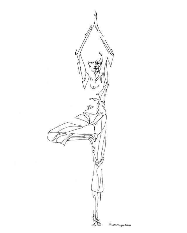 Line Drawing Yoga Pose : Tree pose yoga line drawings pinterest