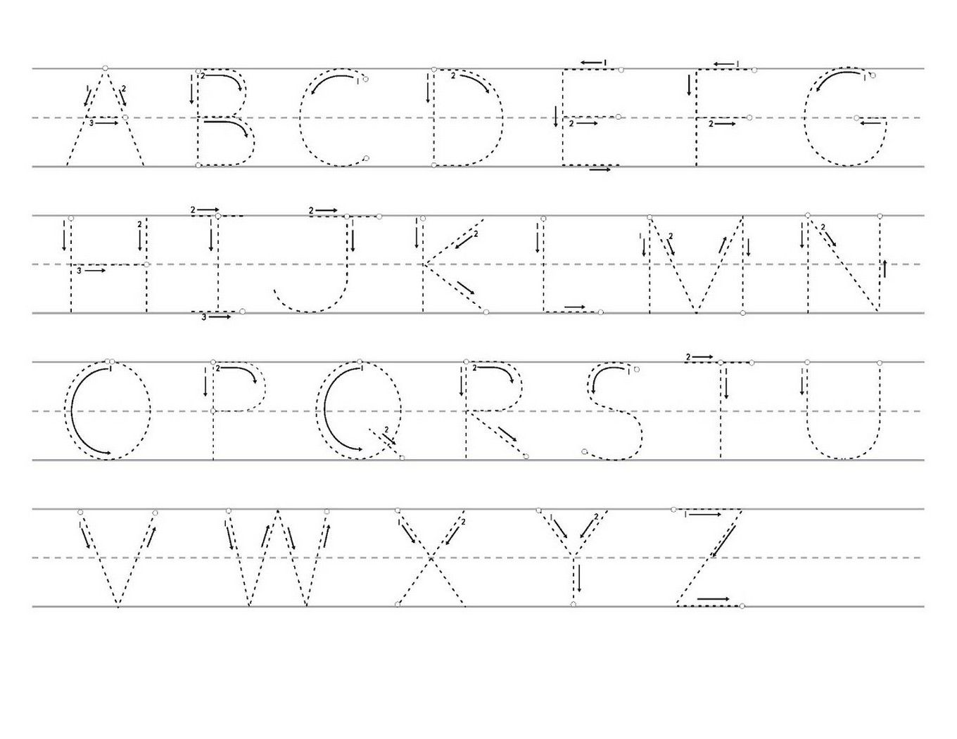 Tracing Letters A Z Worksheets Printable 1 360 1 051