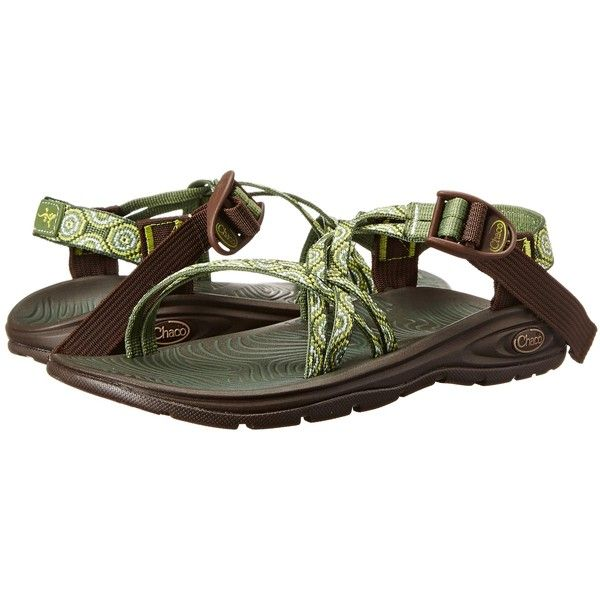 Chaco Z/Volv X (Water Lilly) Women's Shoes ($75) ❤ liked on Polyvore featuring shoes, sandals, blue, arch support shoes, grip shoes, blue shoes, summer sandals and traction shoes