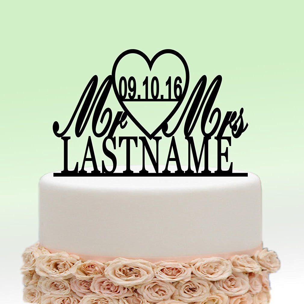 Ivisi personalized wedding cake topper monogram last name surname