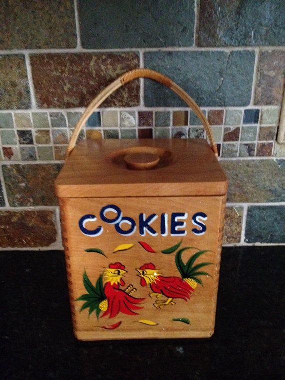 Vintage Wooden Cookie Jar With Roosters by Folkaltered on Etsy